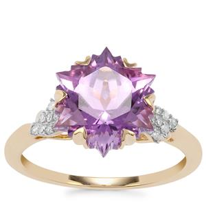 Wobito Snowflake Cut Ametista Amethyst Ring with Diamond in 9K Gold 4.14cts