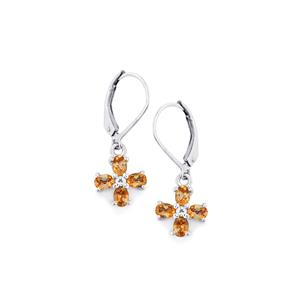 Gouveia Andalusite Earrings with White Topaz in Sterling Silver 1.43cts