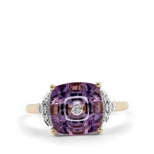 Lehrer TorusRing Ametista Amethyst Ring with Diamond in 10K Gold 2.95cts