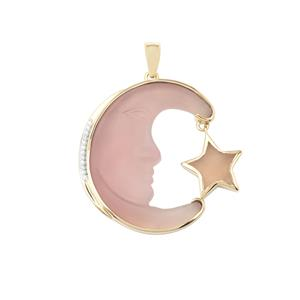 Lehrer Man in the Moon Lavender Chalcedony Pendant with Diamond in 10K Gold 15.11cts