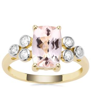 Nigerian Morganite Ring with White Zircon in 9K Gold 2.36cts