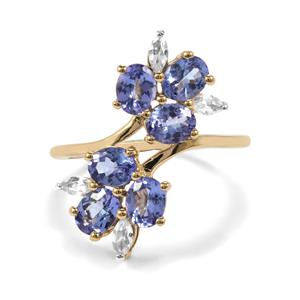 AA Tanzanite Ring with White Zircon in 10K Gold 2.43cts
