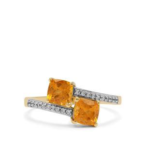 Mandarin Garnet Ring with White Zircon in 9K Gold 1.45cts