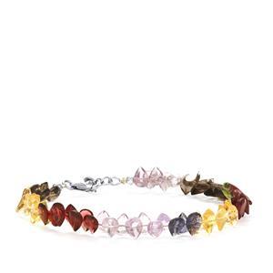 36.20ct Kaleidoscope Gemstones Sterling Silver Bead Bracelet