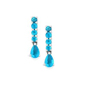 Neon Apatite Earrings in Sterling Silver 1.31cts