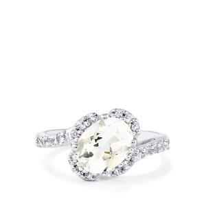 Itinga Petalite & White Topaz Sterling Silver Ring ATGW 1.85cts