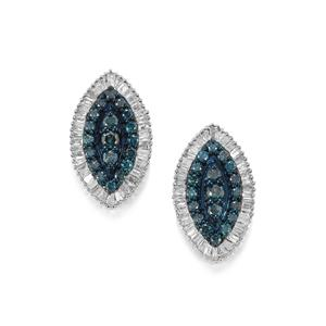 Blue Diamond Earrings with White Diamond in Sterling Silver 1ct