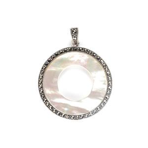 Mother of Pearl Pendant with Natural Marcasite in Sterling Silver