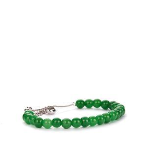 Burmese Green Jade Slider Bracelet in Sterling Silver 38.50cts