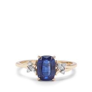 Nilamani & Diamond 9K Gold Ring ATGW 1.68cts