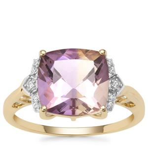 Anahi Ametrine Ring with White Zircon in 9K Gold 4cts