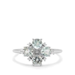 Aquaiba™ Beryl & White Zircon 9K White Gold Ring ATGW 1cts