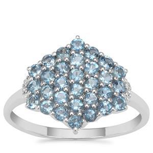 Nigerian Aquamarine Ring with Diamond in 9K White Gold 1.05cts
