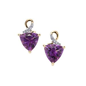 Moroccan Amethyst Earrings with Diamond in 9K Gold 3.20cts