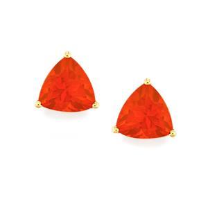 3.29ct AA Orange American Fire Opal 10K Gold Earrings