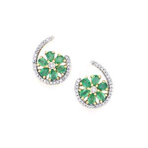 Zambian Emerald Earrings with White Zircon in 9K Gold 2.04cts