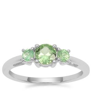 Tsavorite Garnet Ring in Sterling Silver 0.78ct