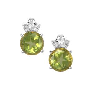 Lone Star Fern Green Quartz Earrings with White Topaz in Sterling Silver 4.30cts