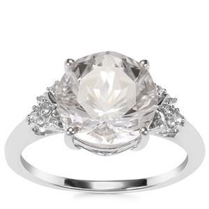 Optic Quartz & White Topaz Sterling Silver Cupid Ring ATGW 3.85cts