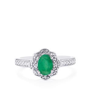 Minas Gerais Emerald & White Topaz Sterling Silver Ring ATGW 0.89cts