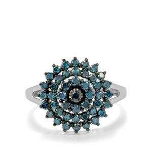 Blue Diamond Ring  in 10k White Gold 1ct