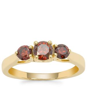 Red Diamond Ring in 9K Gold 1ct
