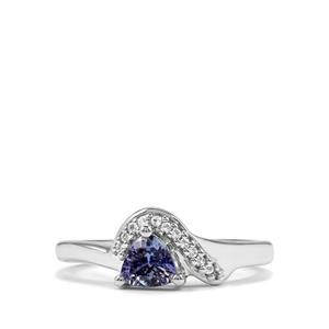 Bi Colour Tanzanite & White Topaz Sterling Silver Ring ATGW 0.56cts