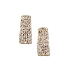 1ct Champagne Argyle Diamond 9K Gold Earrings