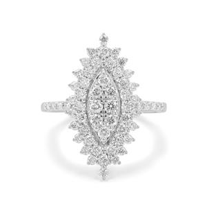 Russian VSi Diamond Ring in 9K White Gold 1cts