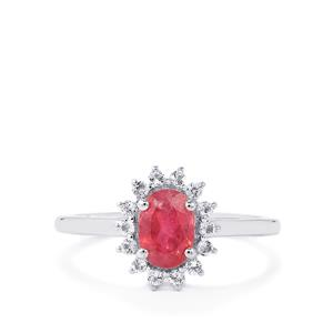 Pink Tourmaline Ring with White Topaz in Sterling Silver 1cts