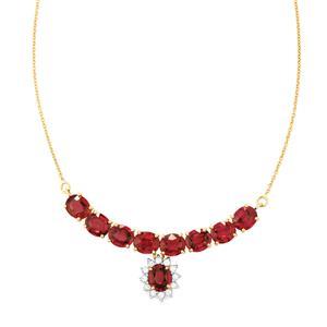 Malawi Garnet & White Zircon 14K Gold Necklace ATGW 14.19cts