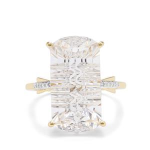 Lehrer Matrix Cut Optic Quartz & Diamond 9K Gold Ring ATGW 10.95cts
