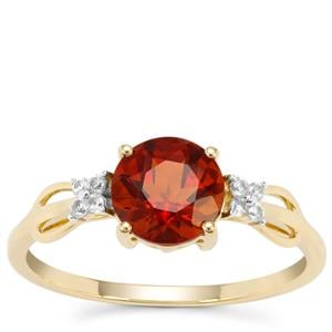 Madeira Citrine Ring with White Zircon in 9K Gold 1.23cts