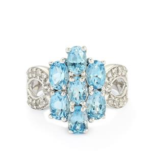 3.96ct Swiss Blue & White Topaz Sterling Silver Ring