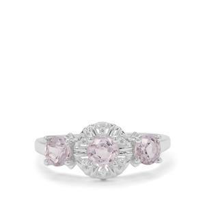 Burmese Pink Spinel & White Zircon Sterling Silver Ring ATGW 1.43cts