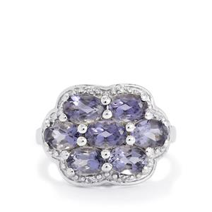 Bengal Iolite & White Topaz Sterling Silver Ring ATGW 2.60cts