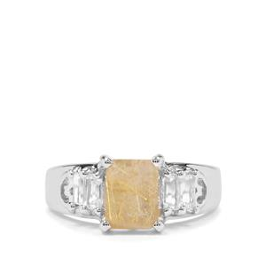 Bahia Rutilite & White Topaz Sterling Silver Ring ATGW 2.13cts