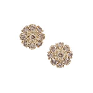Champagne Argyle Diamond Earrings in 9K Gold 0.51ct