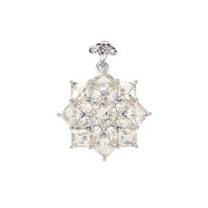 Serenite & Champagne Diamond Sterling Silver Pendant ATGW 7.76cts