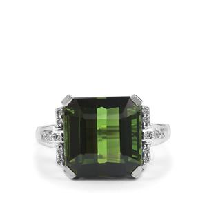 Green Tourmaline Ring with Diamond in 18K White Gold 8.29cts