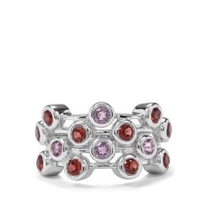 Rajasthan Garnet & Rose De France Amethyst Sterling Silver Ring ATGW 1.92cts