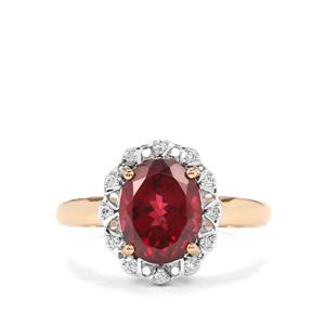 Mahenge Garnet Ring with Diamond in 18K Gold 3.89cts
