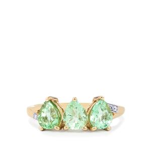 Paraiba Tourmaline Ring with Diamond in 10K Gold 1.54cts