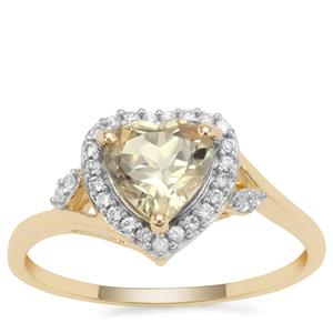 Csarite® Ring with White Zircon in 9K Gold 1.49cts