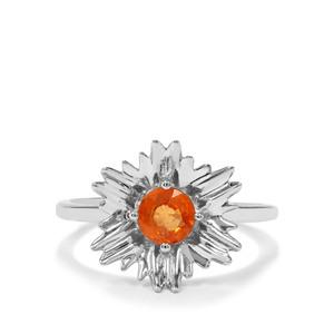 0.86ct Mandarin Garnet Sterling Silver Ring