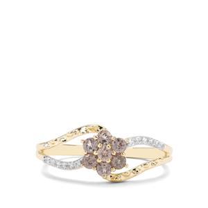 Miova Loko Garnet & White Zircon 9K Gold Ring ATGW 0.48cts