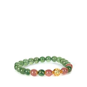 Green Aventurine Stretchable Bracelet with Strawberry Quartz in Gold Tone Sterling Silver 81cts