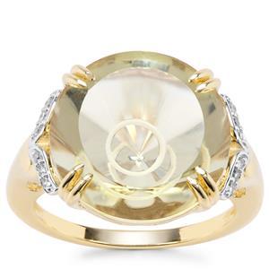 Maelstrom Cut Lemon Quartz Ring with Diamond in 9K Gold 10.98cts