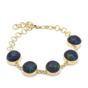 Azure Malachite Bracelet in Gold Plated Sterling Silver 30.32cts