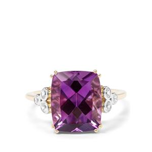 Moroccan Amethyst & White Zircon 9K Gold Ring ATGW 5.21cts